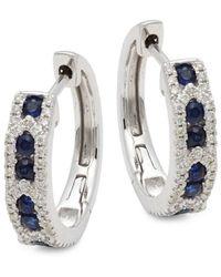 Saks Fifth Avenue Women's 14k White Gold, Sapphire & Diamond Hoop Earrings - Metallic
