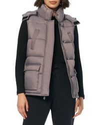 Marc New York Women's Quilted Hooded Vest - Haze - Size L - Multicolour