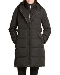 DKNY Hooded Quilted Coat - Black