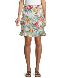 Nicole Miller - Ruffle-trimmed Floral Skirt - Lyst