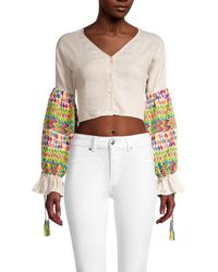 All Things Mochi Buttoned-front Cropped Top - Grey