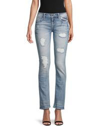 Miss Me Distressed Slim Straight Jeans - Blue