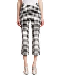 Derek Lam Gingham Crop Flare Pants - Black