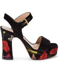 Valentino Garavani Valentino Garavani Women's Floral Velvet Ankle-strap Sandals - Nero - Size 39.5 (9.5) - Black