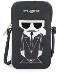 Karl Lagerfeld Women's Maybelle Karl Leather Phone Case - Black Gold