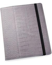 Graphic Image Croc-embossed Nubuck Leather Ipad Case - Grey
