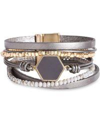 Saachi Hexa Resin Beaded Bracelet - Gray