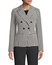 Bagatelle Double Breasted Ponte Knit Houndstooth Printed Blazer - Black