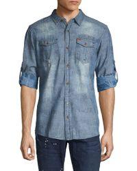 Buffalo David Bitton Roll-tab Sleeve Button-down Shirt - Blue