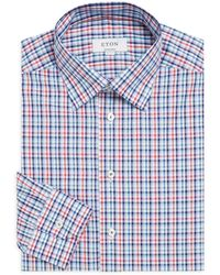 Eton of Sweden Contemporary-fit Plaid Cotton Poplin Dress Shirt - Blue