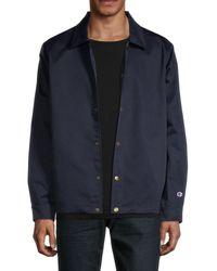 Champion Men's Coach Snap-front Jacket - Navy - Size Xs - Blue