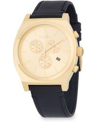 Nixon - Time Teller Stainless Steel And Leather-strap Watch - Lyst