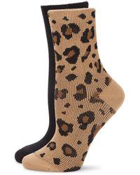 Hue 2-pack Ribbed Socks - Natural