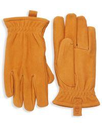 UGG Men's Faux Fur-lined Suede Gloves - Black - Size L