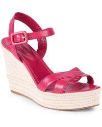 Sergio Rossi - Leather Wedge Sandals - Lyst