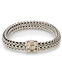 John Hardy Dot Sterling Silver & 18k Yellow Gold Braid Bracelet - Metallic