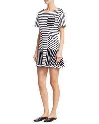 Derek Lam Short-sleeve Striped T-shirt Dress - Black