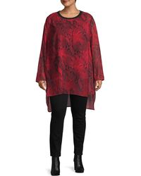 Calvin Klein Plus Snakeskin-print High-low Top - Red