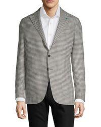 Eidos Plaid Wool Jacket - Gray