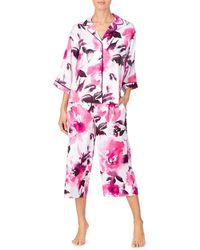 Donna Karan 2-piece Floral Capri Pajama Set - Pink