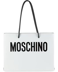 Moschino Logo Convertible Leather Tote - White