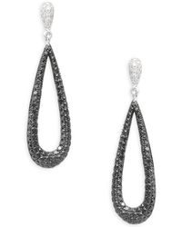 Effy - 14k White Gold Diamond Pear Hoop Earrings - Lyst