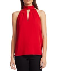 MILLY Emma Silk Choker-neck Tie Top - Red