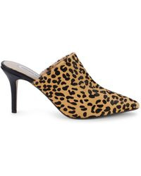 Saks Fifth Avenue Leopard-print Calf Hair Stiletto Mules - Brown