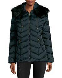 T Tahari - Faux Fur Trimmed Puffer Coat - Lyst