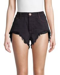 One Teaspoon Rollers High-low Denim Shorts - Black
