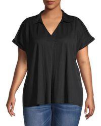 B Collection By Bobeau Women's Plus Rivka Pullover Top - Black - Size 1x (14-16)