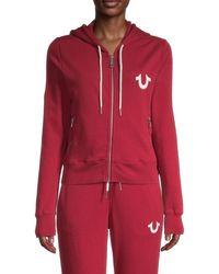 True Religion Women's Vintage-style Zip Hoodie - Bleed True - Size Xs - Red