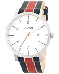 Nixon - Stainless Steel Stripe Leather-strap Watch - Lyst