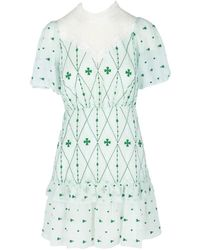 Sandro Embroidered Fit-&-flare Dress - Green