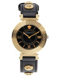 Versace Women's Stainless Steel & Leather Strap Watch - Black