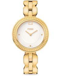 Fendi 36mm My Way Watch W/removable Fur Glamy Yellow Gold - Metallic