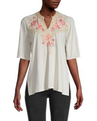 Johnny Was Women's Rianne Floral Embroidery Elbow-sleeve Top - Eden Rose - Size S - White