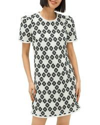 Kate Spade Daisy-print Tweed Shift Dress - Black