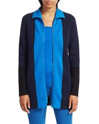 Akris Punto Women's Milano Stretch-wool Knit Colorblock Zip Jacket - Night Sky - Size 8 - Blue
