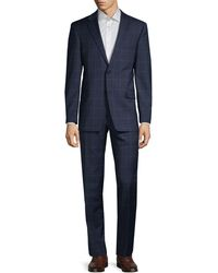 Tommy Hilfiger Standard-fit Windowpane Check Suit - Blue