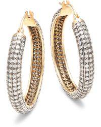 Amrapali 14k Yellow Gold, Sterling Silver & Diamond Hoop Earrings - Metallic