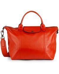 Longchamp Le Pliage Leather Satchel - Orange