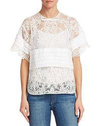 N°21 Sheer Lace Blouse - White