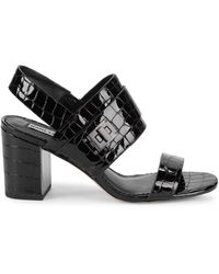Karl Lagerfeld Jaylynn Croc-embossed Patent Leather Slingback Sandals - Black