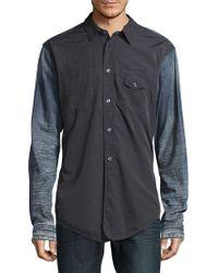 PRPS Denim Detail Cotton Button-down Shirt - Blue