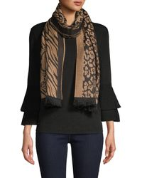 Roberto Cavalli Animal-print Logo Wool-blend Scarf - Natural