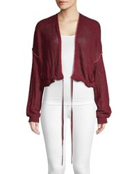 Free People Knit Cotton Cardigan - Red