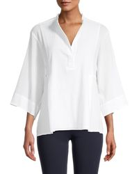 Vince Lightweight Panelled Popover Top - White