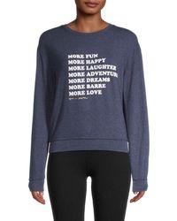 Spiritual Gangster Women's Printed Crewneck Sweater - Navy - Size M - Blue