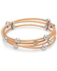 Alor Women's 14k White Gold, Rosegold-tone Stainless Steel & Diamond Multi-strand Bangle Bracelet - Metallic